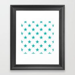 Stars (Tiffany Blue/White) Framed Art Print