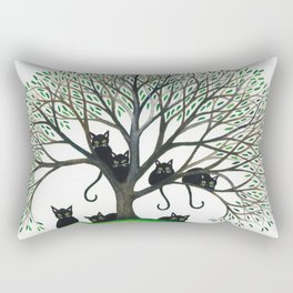 Borders Stray Cats in Tree Rectangular Pillow