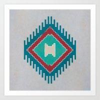 kilim Art Prints featuring Pistachio Persian Kilim by Katayoon Photography