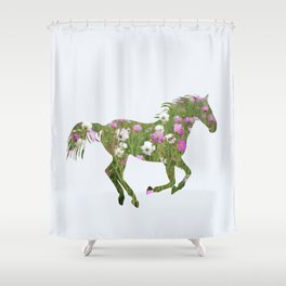 The horse is the meadow Shower Curtain