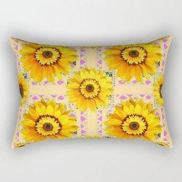 CREAM COLOR WESTERN STYLE YELLOW SUNFLOWERS Rectangular Pillow