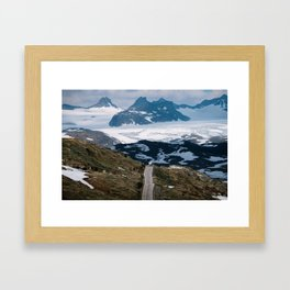 Caravan along a mountain road in Norway - Landscape Photography Framed Art Print