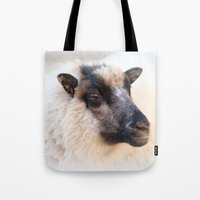 sheep Tote Bags featuring sheep by Bunny Noir