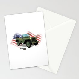 WWII US Army Truck with American Flag Stationery Cards