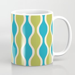 Classic Retro Ogee Pattern 852 Turquoise and Olive Coffee Mug