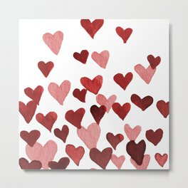 Valentine's Day Watercolor Hearts - red Metal Print