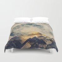 geometric Duvet Covers featuring One mountain at a time by HappyMelvin