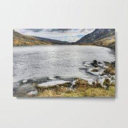 Lake Ogwen Frozen Metal Print