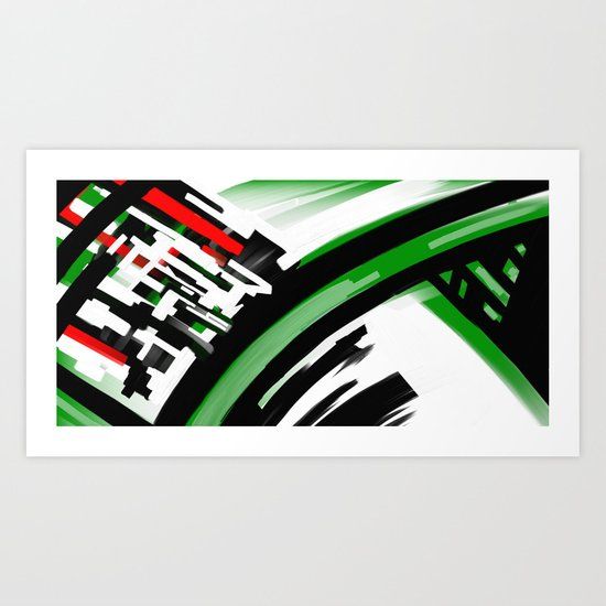 Green and Red Abstract Art Print