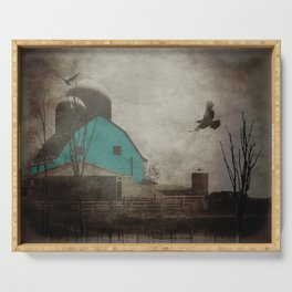 Rustic Teal Barn Country Art A158 Serving Tray