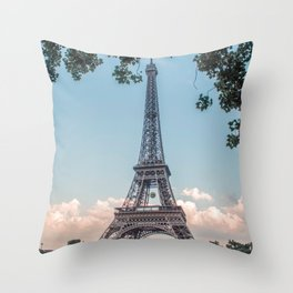 Eiffel Tower During Sunset | City Urban Landscape Photography of Paris France Throw Pillow