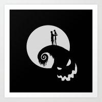 jack skellington Art Prints featuring Nightmare Jack Skellington by aleha