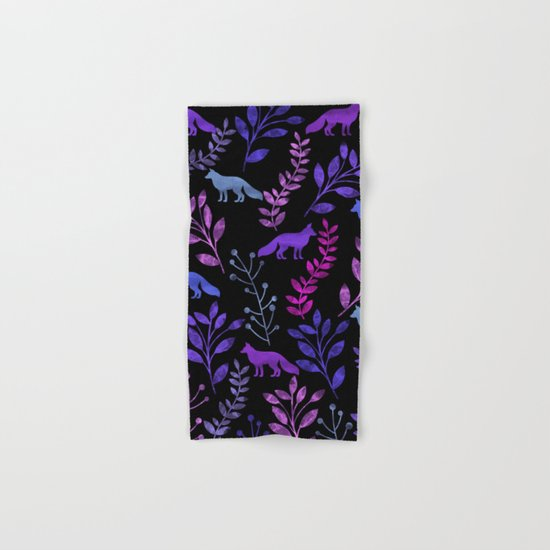 Watercolor Floral & Fox V Hand & Bath Towel