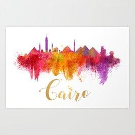 Cairo Skyline Egypt Watercolor cityscape Art Print