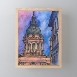 Budapest ink & watercolor illustration Framed Mini Art Print