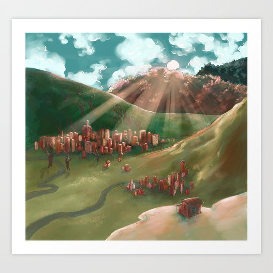Sunrise Over The Valley Town Art Print