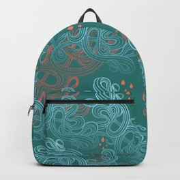 Turquoise Waves and Drips Backpack