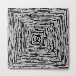 Geometric Abstract - Black & White Square Metal Print