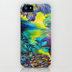 FLIGHT ON TAP - Whimsical Colorful Feathers Fountain Peacock Abstract Acrylic Painting Purple Teal Slim Case iPhone (5, 5s)