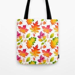 Fall Leaves Watercolor - White Tote Bag