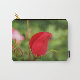 Soft Red Rosebud Carry-All Pouch