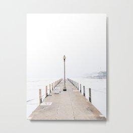 Snowy Lake Michigan Pier Metal Print