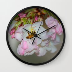 Cherry Blossoms & Bee Wall Clock