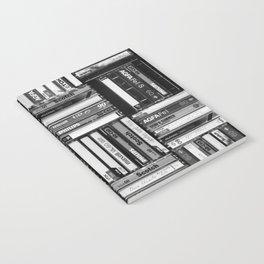 Music Cassette Stacks - Black and White - Something Nostalgic IV #decor #society6 #buyart Notebook