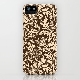William Morris Thistle Damask, Taupe Tan and Beige iPhone Case