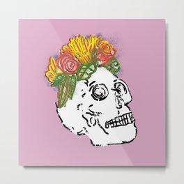 SKULL & FLOWERS - PINK Metal Print