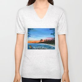 """PEACEFUL LIVING""  Unisex V-Neck"