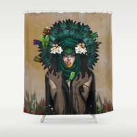 ashton irwin Shower Curtains featuring VACUITY by ANVIK