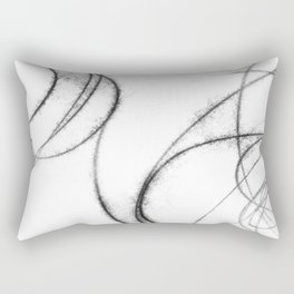 Minimalist Abstract Black and White Line Drawing Rectangular Pillow