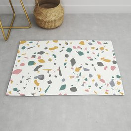 Terrazzo // Teal Pink Yellow Ochre // Stone Marble Geometric Pattern Rug