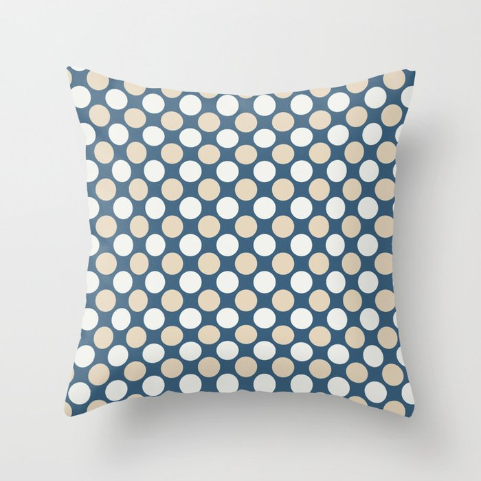 Beige & Off White Uniform Polka Dots Pattern on Blue 2020 Color of the Year Chinese Porcelain Throw Pillow
