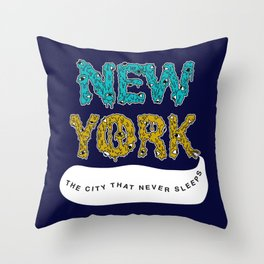 The Melted City, That Never Sleeps. Throw Pillow