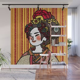 Lady With Flower Headpiece Wall Mural