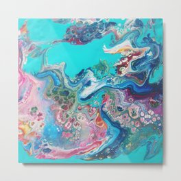 Rainbow Sea Dragon - Abstract Acrylic Art by Fluid Nature Metal Print