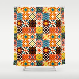 Maroccan tiles pattern with red an blue no2 Shower Curtain