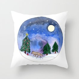 Wolf in Galaxy Winter Landscape Watercolor Art Throw Pillow