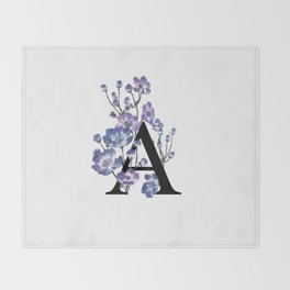 Letter 'A' Anemone Flower Typography Throw Blanket