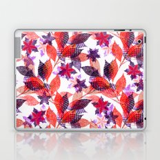 Red, or purple flowers and branches on a white background. Laptop & iPad Skin