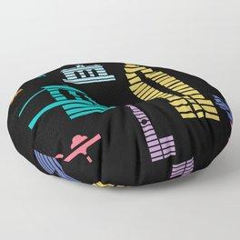New York Skyline Empire State Poster Black Floor Pillow