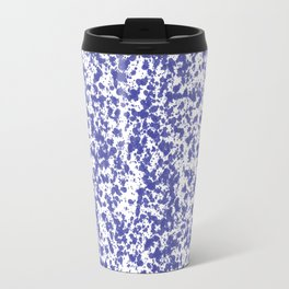 """Navy and White Painted Dot Pattern"" Travel Mug"