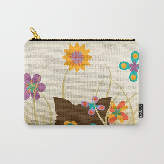 Whimsical Blooming Flowers and Brown Kitty Cat Carry-All Pouch