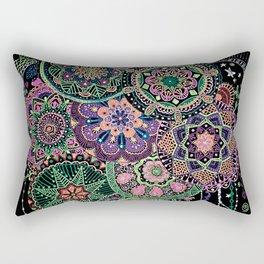 Black Light Mandalas Rectangular Pillow