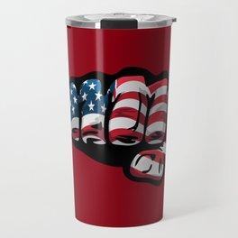 American Flag Fist Travel Mug
