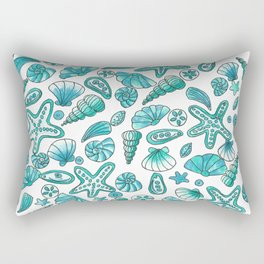 Turquoise seashells Rectangular Pillow