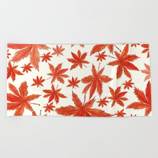red maple leaves pattern Beach Towel