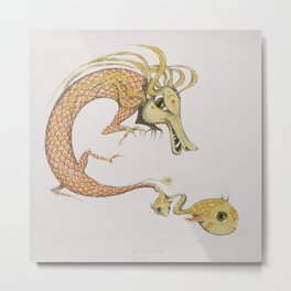 Dragon with fish Metal Print